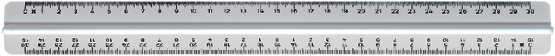 , Liniaal M+R 300mm met handgreep melkwit 3 schalen