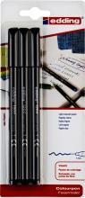 , Fineliner edding 1200 1mm blister à 3 stuks zwart