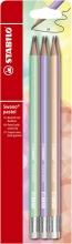 , Potlood STABILO grafiet Swano HB met gumtip pastel etui à 6 kleuren
