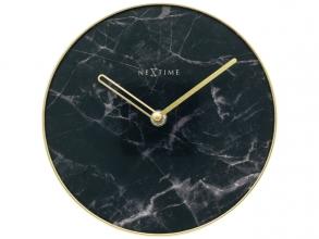 , Tafelklok Nextime Marble Table dia 20cm glas zwart