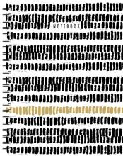 , Zwart-wit-goud spiraalboek groot (lijnen) Grand carnet à spirale noir-blanc-or