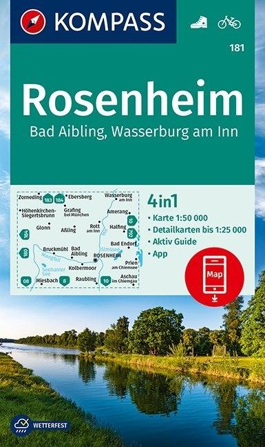 KOMPASS-Karten GmbH,KOMPASS Wanderkarte Rosenheim, Bad Aibling, Wasserburg am Inn 1:50 000