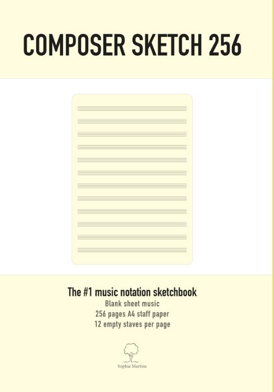 Sophia Martins,Composer Sketch 256 - A4 Muziekpapier met lege notenbalken