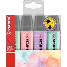 , Markeerstift STABILO Boss Original 70/4 pastel etui à 4 kleuren