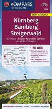 , KOMPASS Fahrradkarte Nürnberg, Bamberg, Steigerwald 1:70.000, FK 3328