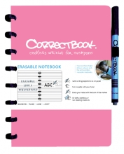 , Notitieboek Correctbook uitwisbaar en herbruikbaar A5 roze lijn 40blz