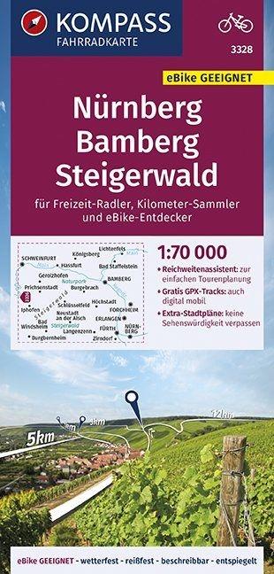 ,KOMPASS Fahrradkarte Nürnberg, Bamberg, Steigerwald 1:70.000, FK 3328