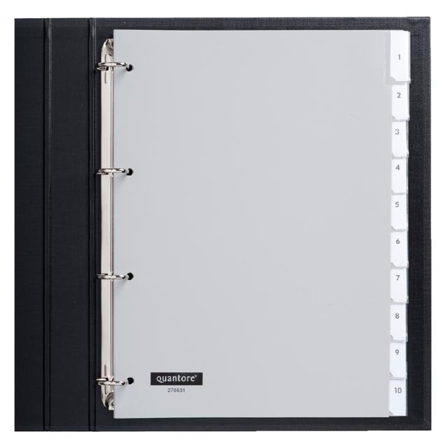 ,Tabbladen Quantore 4-gaats 10-delig met venster grijs PP