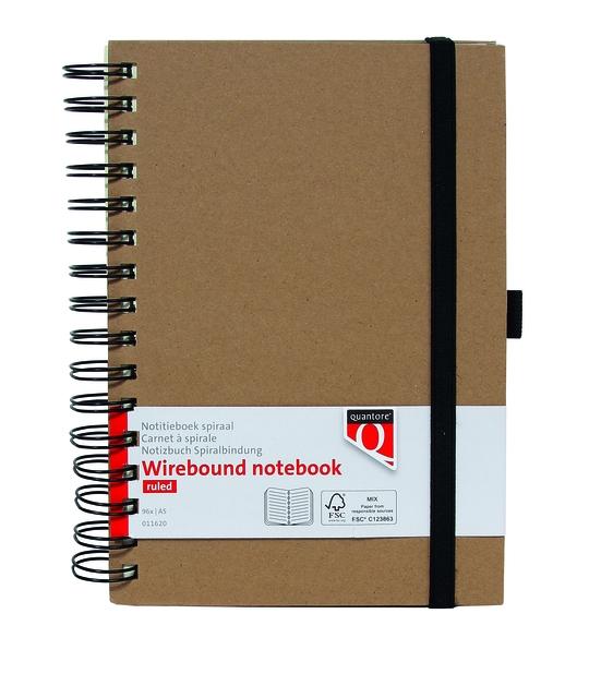 ,Notitieboek Quantore A5 spiraal kraft