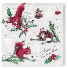 , Kerstservetten eekhoorn - 33x33cm