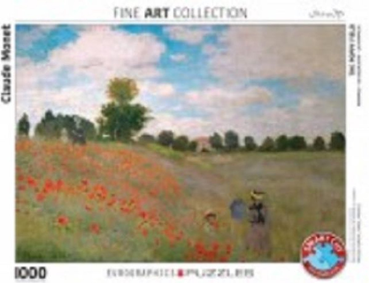 Eur-6000-0826,The poppy field claude monet puzzel eurographics 1000 puzzel 48cm x 68 cm
