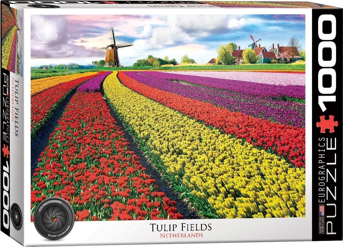 Eur-6000-5326,Tulip fields netherlands puzzel eurographics 1000 stukjes 48x68 cm