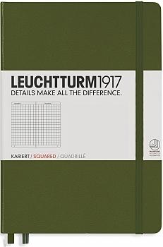 Lt348103,Leuchtturm notitieboek medium 145x210 dots / bullets legergroen