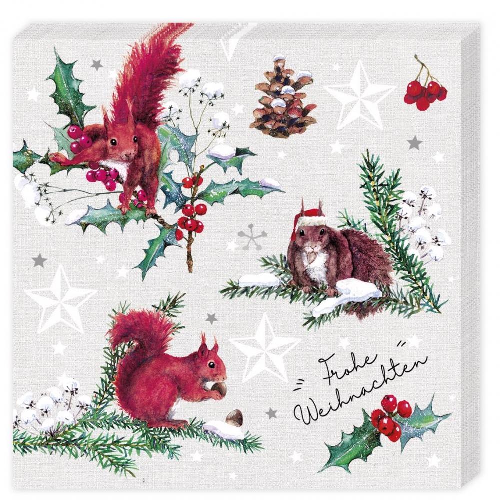 ,Kerstservetten eekhoorn - 33x33cm