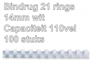 , Bindrug Fellowes 14mm 21rings A4 wit 100stuks