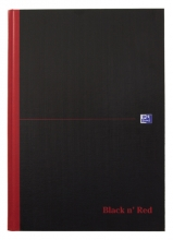 , Notitieboek Oxford Black n` Red A4 96vel ruit 5mm zwart