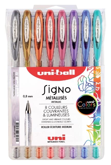 ,Gelschrijver Uni-ball Signo metallic etui à 8 kleuren