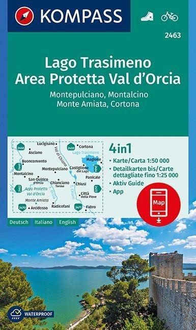 ,Lago Trasimeno, Area Protetta Val d` Orcia, Montepulciano, Montalcino, Monte Amiata, Cortona 1:50 000