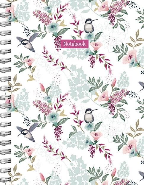ZNU,Romantic Garden spiraalboek groot (lijnen)