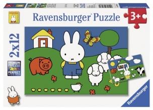 Rav-075669 Nijntje bij de dieren puzzel 2 x 12 stukjes
