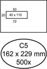 , Envelop Quantore 162x229mm venster 4x11cm links zelfkl 500st
