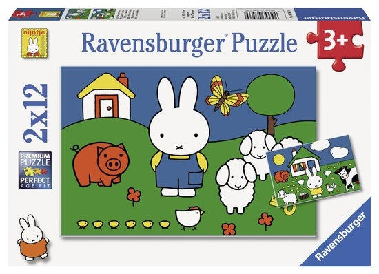 Rav-075669,Nijntje bij de dieren puzzel 2 x 12 stukjes