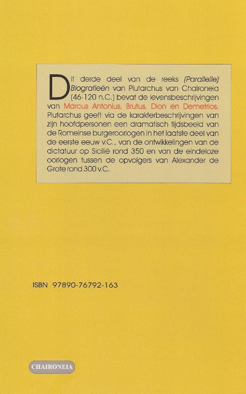 Plutarchus,Biografieën III Dion, Brutus, Demetrios, Antonius