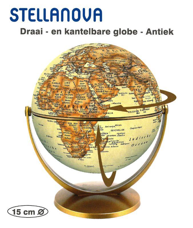 ,Globe 15 cm antiek draai & kantel