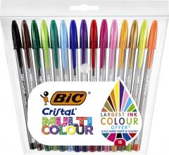 , Balpen Bic Cristal multicolour etui à 15 kleuren