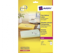 , laseretiket Avery 63,5x38,1mm transparant 25 vel 21         etiketten per vel
