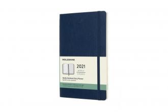 , Moleskine 12 MND Agenda - 2021 - Wekelijks - Large (13x21 cm) - Sapphire Blauw - Zachte Kaft