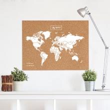 , Wereldkaart kurk XL wit 90 x 60cm