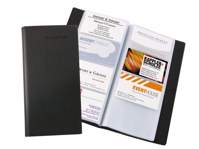 ,visitekaartmap Sigel kunstleer zwart voor 192 kaarten