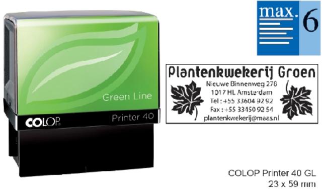 ,Tekststempel Colop 40 green line+bon 6regels 59x23mm