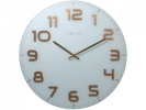 ,Wandklok NeXtime dia. 50 cm, glas, wit, koper, `Classy      Large`