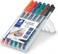 , Viltstift Staedtler Lumocolor 318 permanent F set à 6 stuks assorti