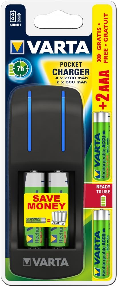 ,Batterij oplader Varta pocket incl. 4x2100MAH + 2x800MAH