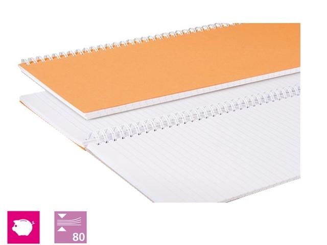 ,Winkelboek smalfolio 160blz met zijspiraal oranje
