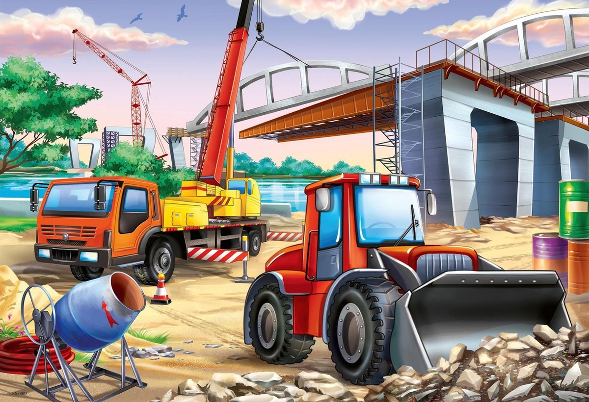 Rav-051571,Puzzel bouwplaats en wedstrijd ravensburger  2x 24 stuks
