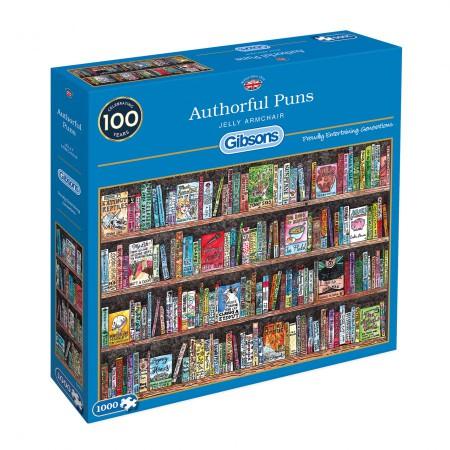 Gib-g6257,Puzzel authorful puns - armchair - gibsons - 1000 stukjes - 68 x 49