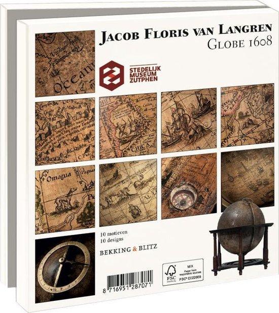 Wmc755,Notecard pak 10 stuks 150x150 mm jacon floris van langren globe