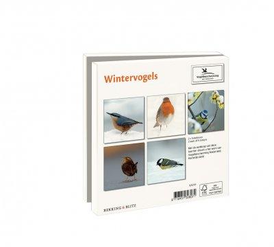 Wmc1006,Kerstkaart mapje 10 stuks met env vogelbescherming wintervogelsq