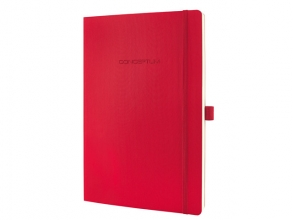 , notitieboek Sigel Conceptum Pure softcover A4 rood geruit