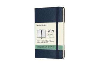 , Moleskine 12 MND Agenda - 2021 - Wekelijks - Pocket (9x14 cm) - Sapphire Blauw - Harde Kaft