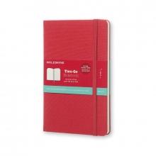 , Moleskine Two-Go Notebook Medium Gelinieerd-Blanco Raspberry Rood