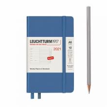 Lt361865 , Leuchtturm agenda 2021 pocket 9x15 9x15 l. ag. r. not. denim blauw