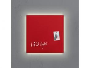 , glasmagneetbord Sigel Artverum LED light 480x480x15 rood