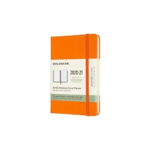 , Moleskine 18 MND Agenda - 2020/21 - Wekelijks - Pocket (9x14 cm) - Cadmium Orange - Harde Kaft