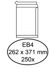 , Envelop Hermes akte EB4 262x371mm zelfklevend wit 250stuks