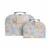 ,Koffer set 2 stuks COLLAGE vintage world map